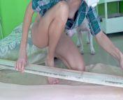 DIY Bed 4-1 - Glueing foam rubber for Headboard + Bonus fast Blowjob from ber blouse